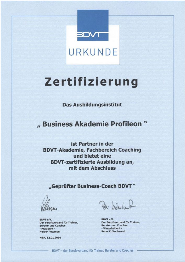Geprüfter Business-Coach BDVT | Business Akademie Profileon