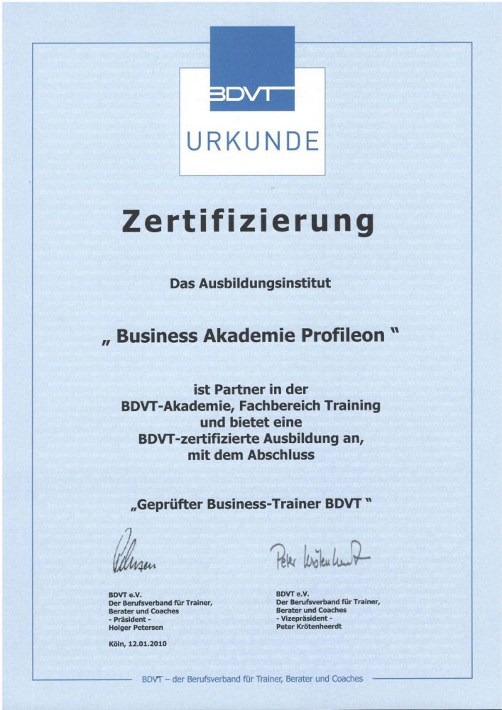 Geprüfter Business-Trainer BDVT | Business Akademie Profileon